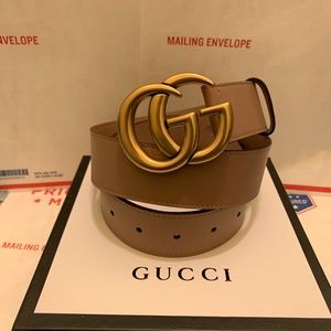Gucci dusty pink leather gold double g buckle belt
